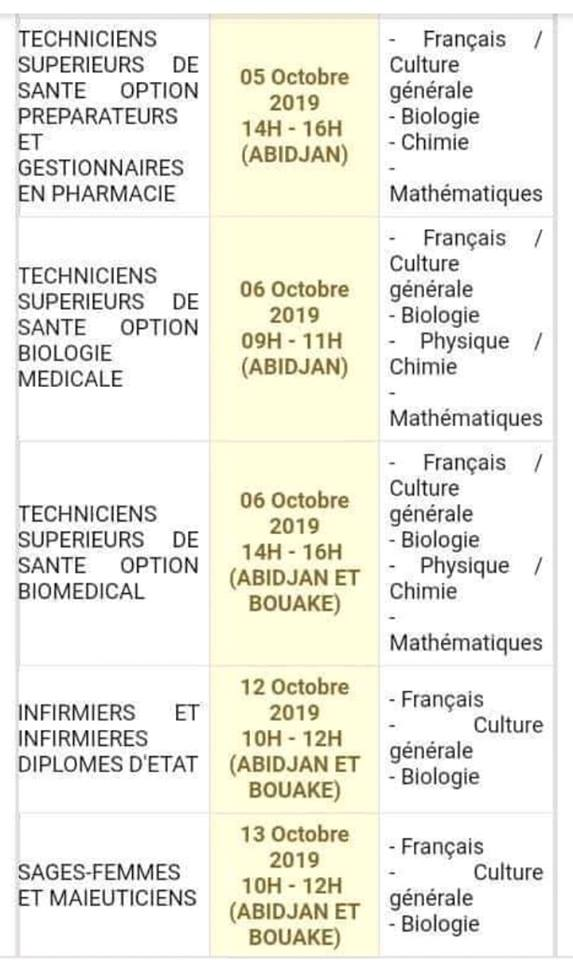 calendrier concours infas 2019