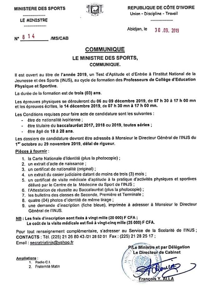 INJS - 2019 concours  concours injs côte d'ivore communiqué