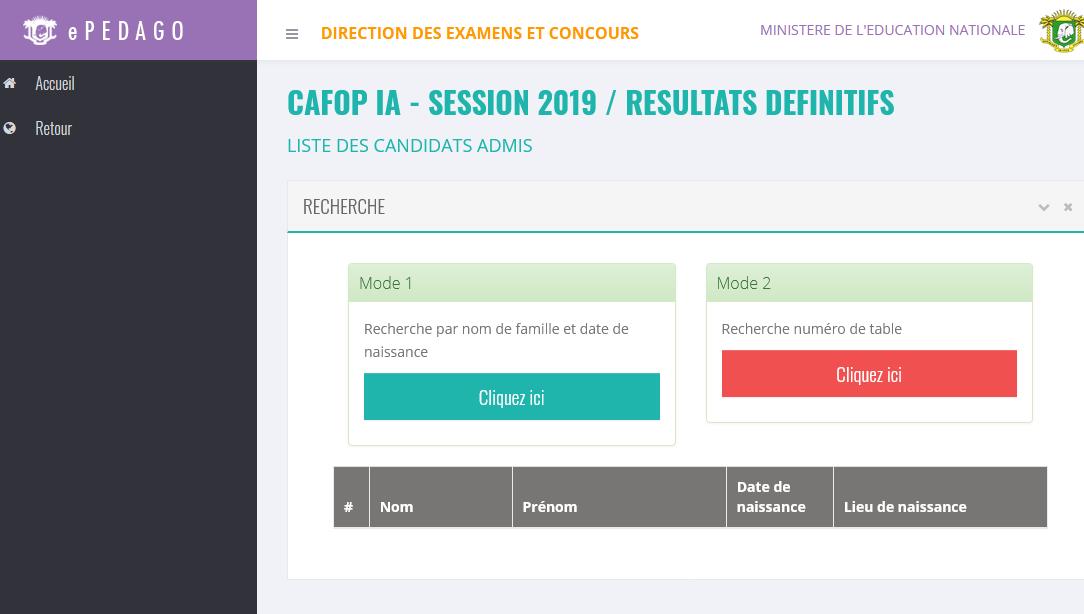 CAFOP IA - SESSION 2019 / RÉSULTATS DÉFINITIFS