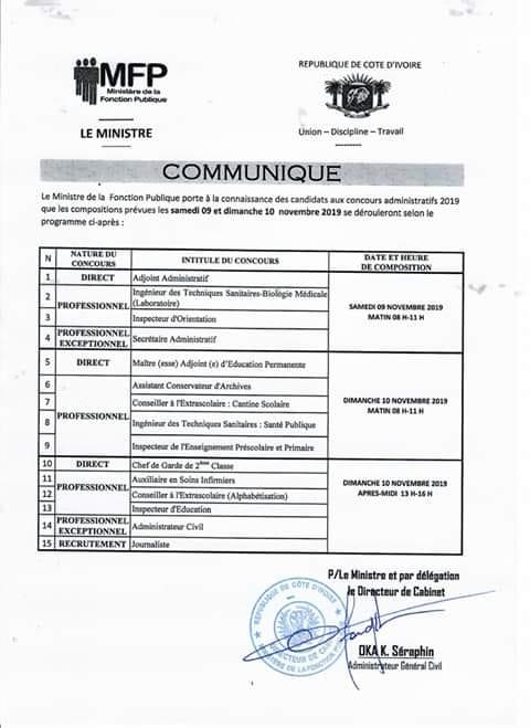 PROGRAMME DES COMPOSITIONS concours administratif fonction publique 2019