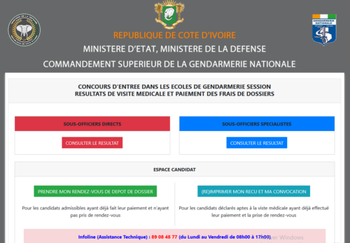 gendarmerie 2019 résultat de la visite médicale