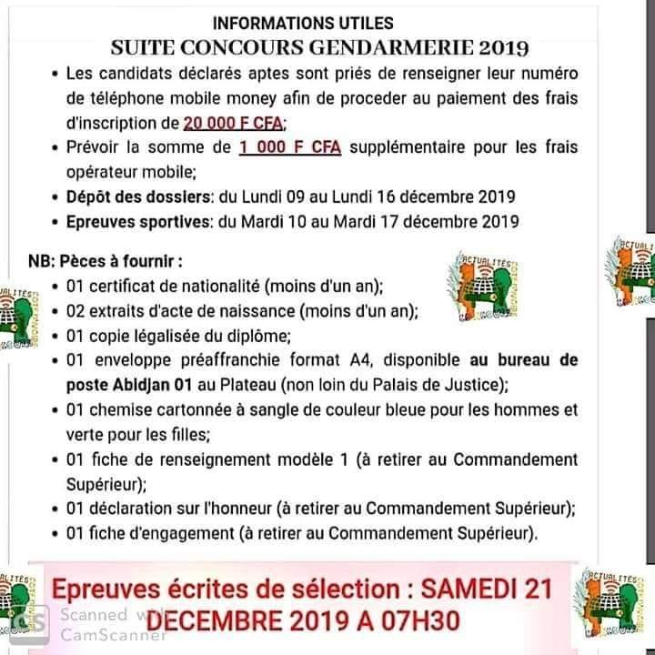 GENDARMERIE 2019  RÉSULTAT