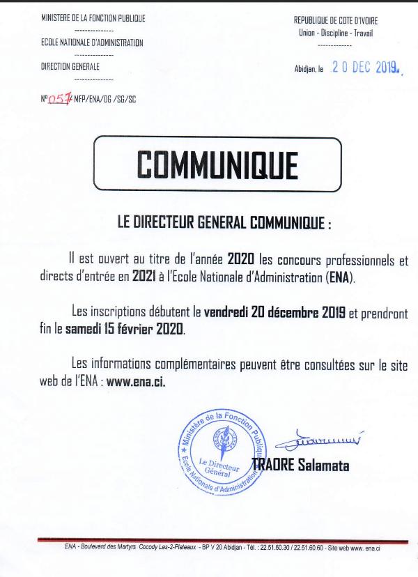 ENA 2020 COMMUNIQUE