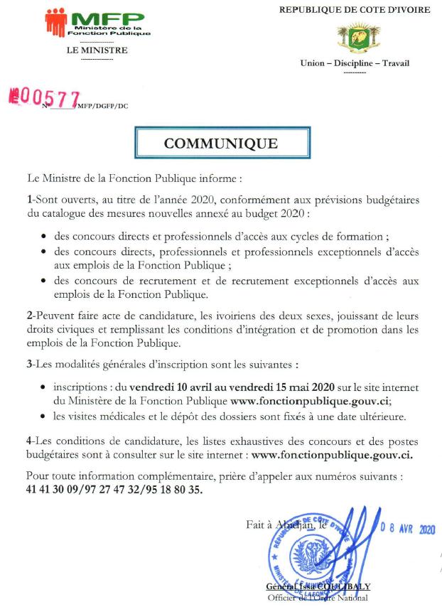 CONCOURS DE LA FONCTION PUBLIQUE 2020 communiqué