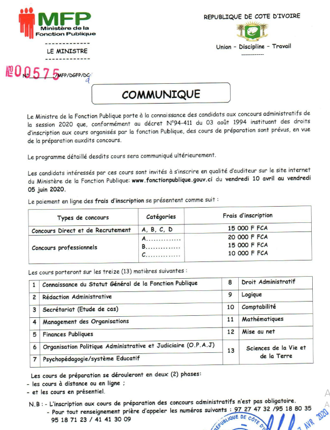 CONCOURS DE LA FONCTION PUBLIQUE 2020 cours de préparation