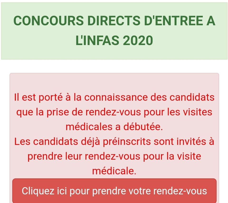 INFAS 2020 CONCOURS