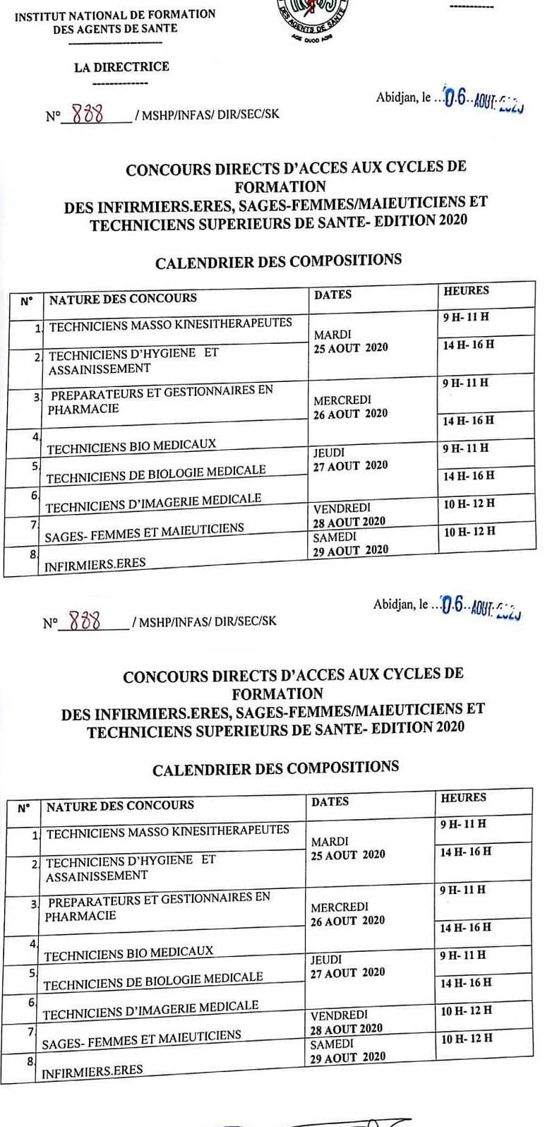 INFAS 2020 : LES CALENDRIERS DE COMPOSITIONS