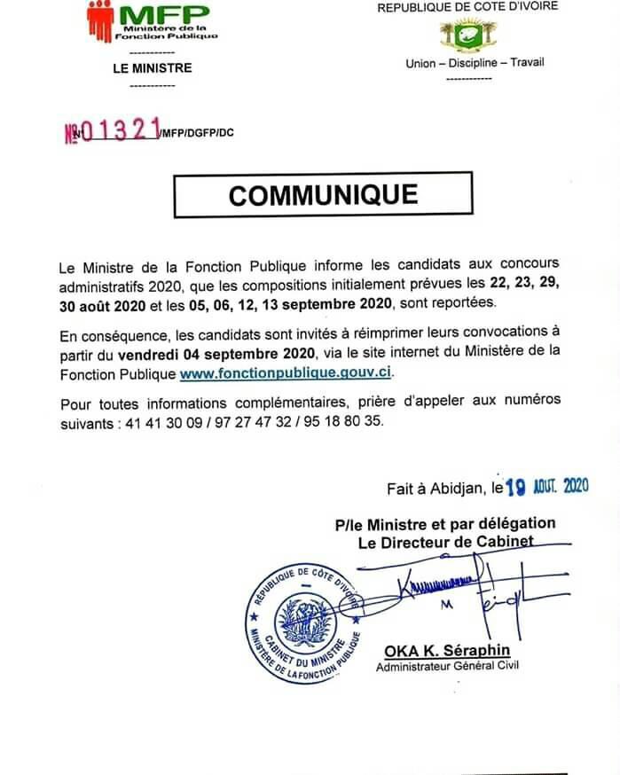 CONCOURS DE LA FONCTION PUBLIQUE 2020