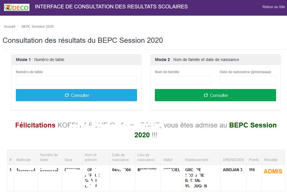 résultats du BEPC